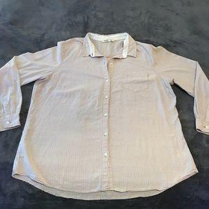 Tan Striped Button Down Long Sleeve